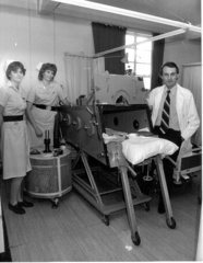 A colleague, Tracy, Dr John Shneerson and myself with one of the Iron Lungs